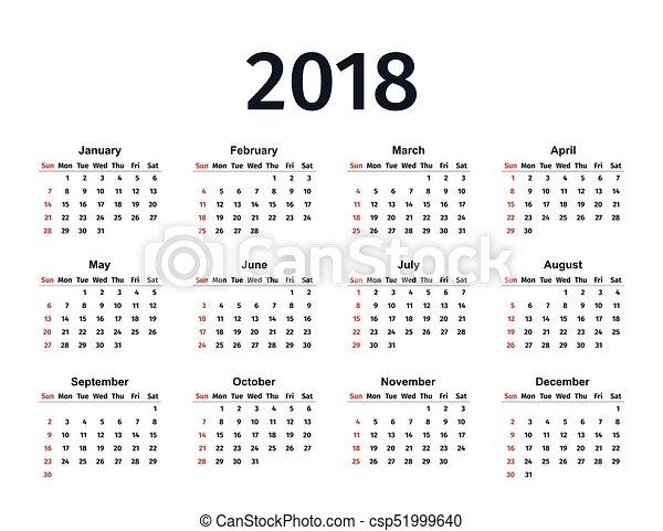 Calendar 2018 Year Vector Template Planner Calendar 2018 In Simple