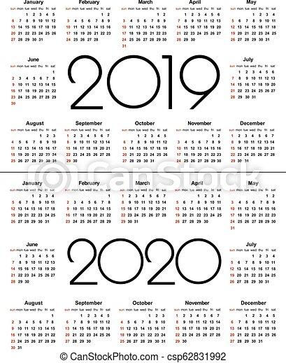 Layout Calendario 2020.Calendar 2019 And 2020 Year