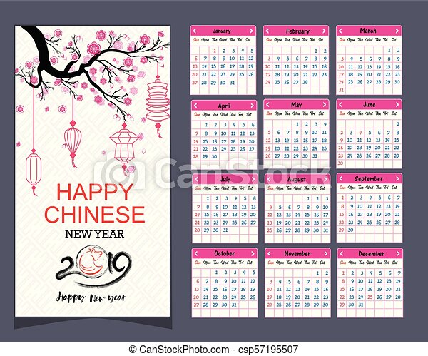 calendar 2019 chinese calendar for happy new year 2019 year of the pig