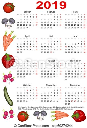 calendar 2019 for ger with various vegetables calendar 2019 with markings and below a list of. Black Bedroom Furniture Sets. Home Design Ideas