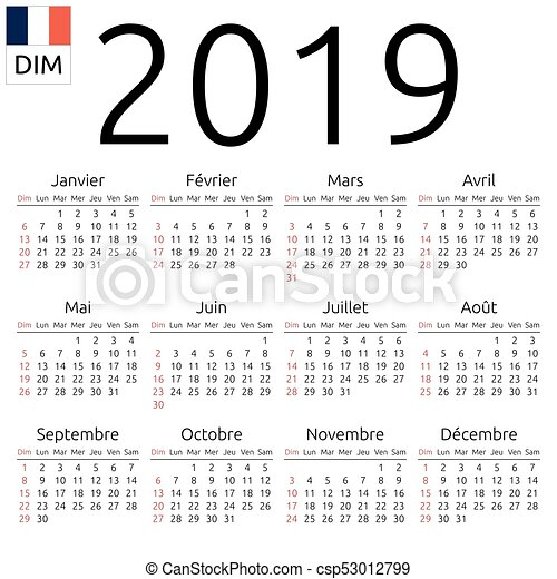 calendar 2019 french sunday csp53012799