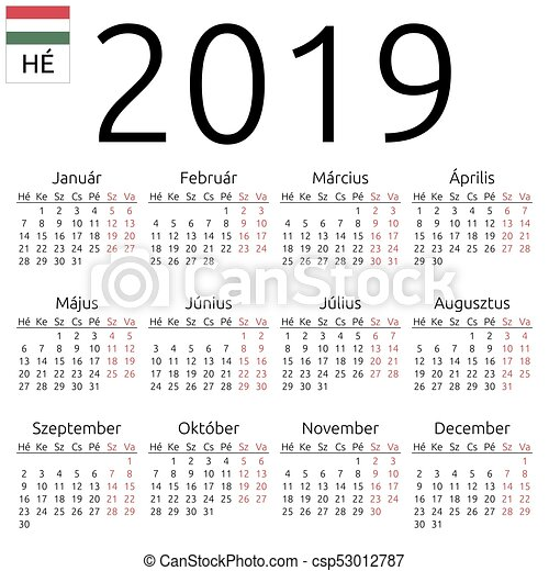 2019 15 naptár Calendar 2019, hungarian, monday. Simple annual 2019 year wall  2019 15 naptár
