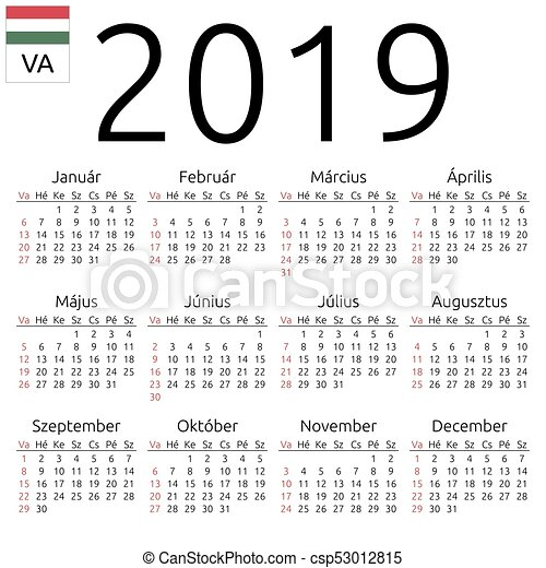 2019 naptár Calendar 2019, hungarian, sunday. Simple annual 2019 year wall  2019 naptár