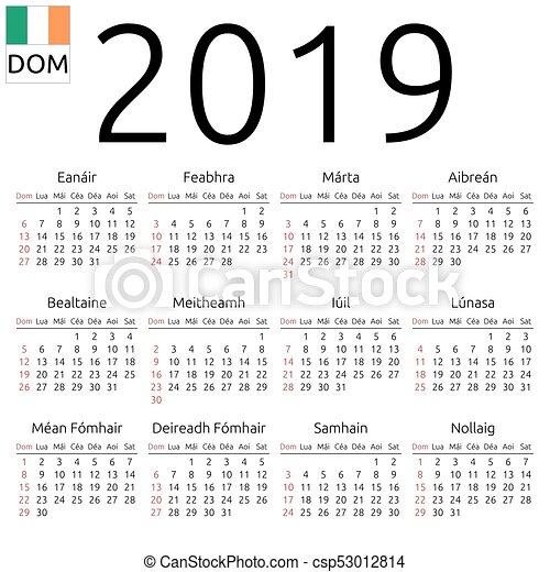 Ireland Calendar 2019 Calendar 2019, irish, sunday. Simple annual 2019 year wall