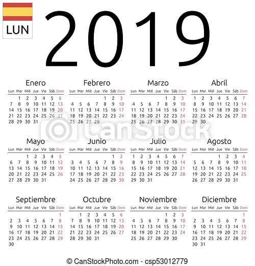 calendar 2019 spanish monday simple annual 2019 year wall