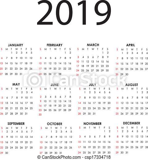 2019 es naptár Calendar 2019. Simple vector calendar for 2019 with all the months. 2019 es naptár
