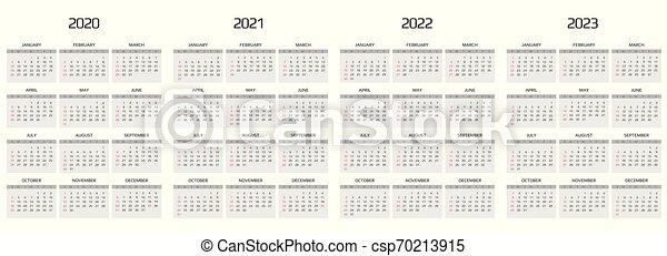 Event Calendar 2022.Calendar 2020 2021 2022 2023 Template 12 Months Include Holiday Event Week Starts Sunday Calendar 2020 Template 12 Canstock