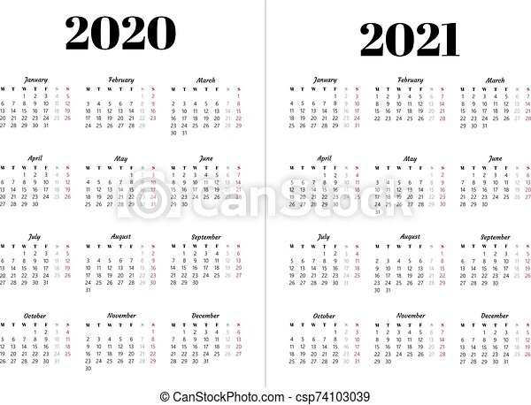 Calendar 2020, 2021 year. black and white vector template. basic