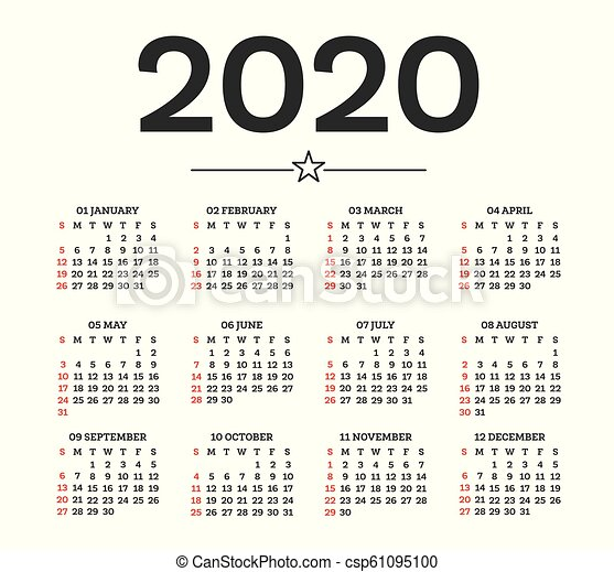 Calendar 2020 isolated on white background. week starts ...