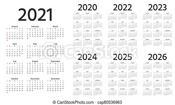 2022 2023 Pocket Calendar.Calendar 2021 2022 2023 2024 2025 2026 2020 Years Vector Illustration Simple Template Calendar 2021 2022 2023 Canstock