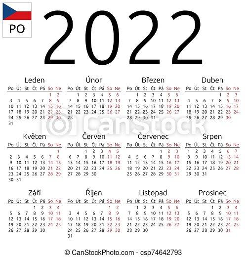 Arabic Calendar 2022.Calendar 2022 Czech Monday Simple Annual 2022 Year Wall Calendar Czech Language Week Starts On Monday Saturday And Canstock