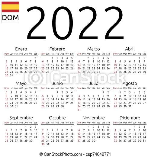 Mar 2022 Calendar.Calendar 2022 Spanish Sunday Simple Annual 2022 Year Wall Calendar Spanish Language Week Starts On Sunday Sunday Canstock