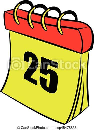 Calendar 25 number  icon cartoon - csp45478836