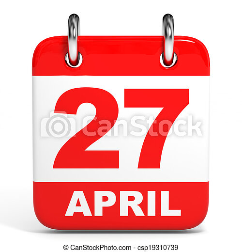 Calendar. 27 april. Calendar on white background. 27 april ... on