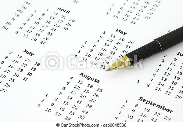 calendar and ballpoint pen - csp0648506