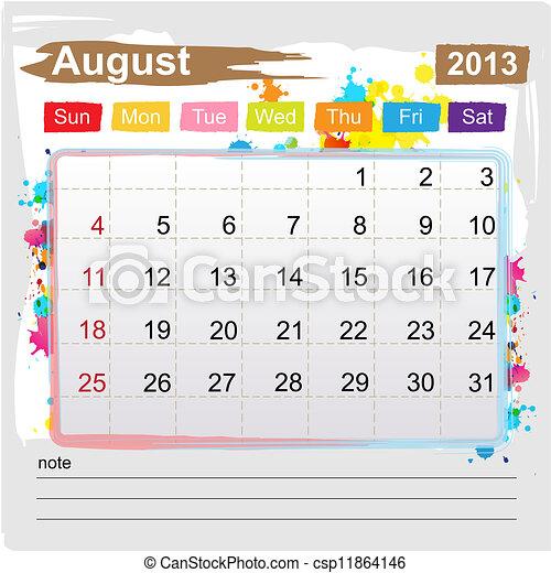 Calendar August 2013 - csp11864146