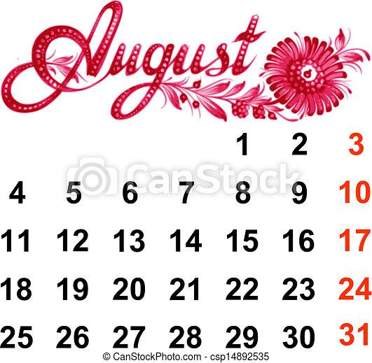 Calendar August 2014 - csp14892535