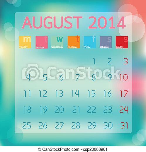 Calendar August 2014, Flat style background, vector illustration - csp20088961