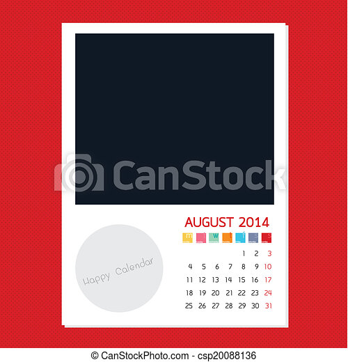 Calendar August 2014, Photo frame background - csp20088136
