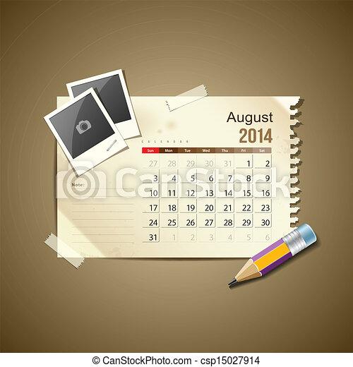 Calendar August 2014 - csp15027914