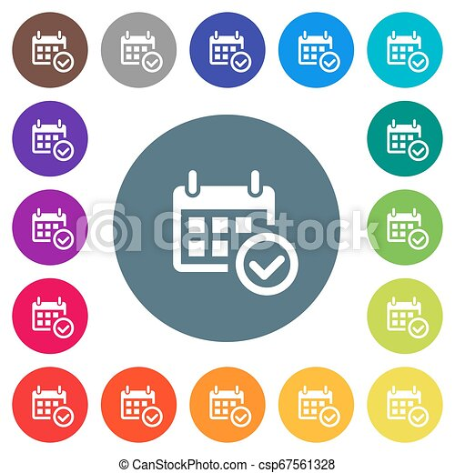 Calendar check flat white icons on round color backgrounds - csp67561328