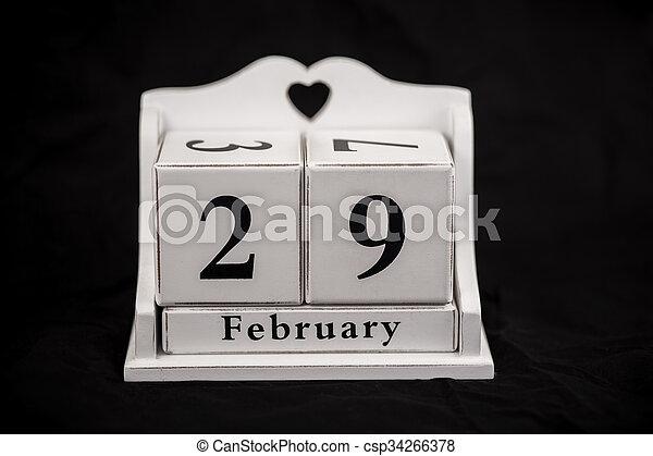Calendar cubes February, twenty-eighth, 28, 28th - csp34266378