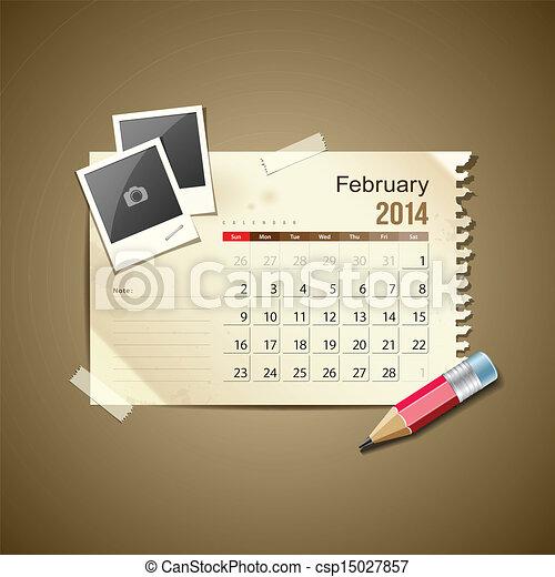 Calendar February 2014 - csp15027857