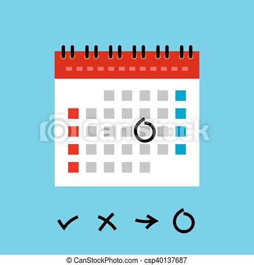 Calendar Flat Design Icon Schedule And Organizer Weekly Monthly
