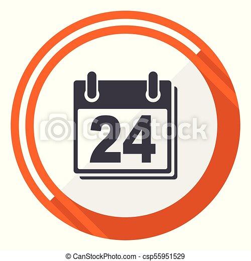 Calendar flat design vector web icon. Round orange internet button isolated on white background. - csp55951529