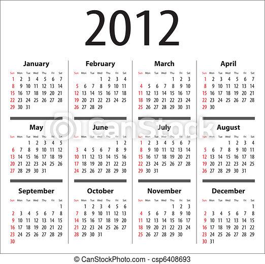 Calendar for 2012. sundays first. | CanStock