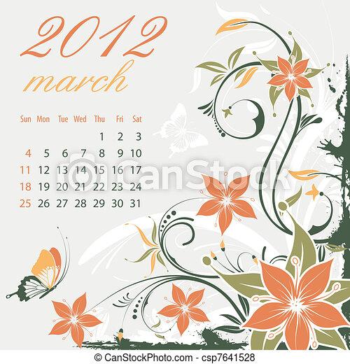 Calendar for 2012 March - csp7641528