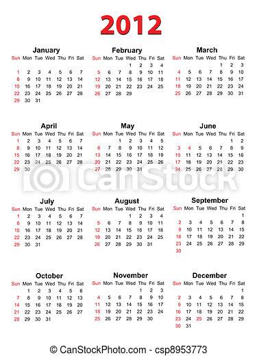 Calendar for 2012 on white, vector format - csp8953773