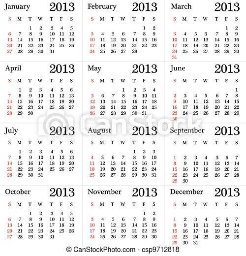 calendar for 2013 year simple version vector
