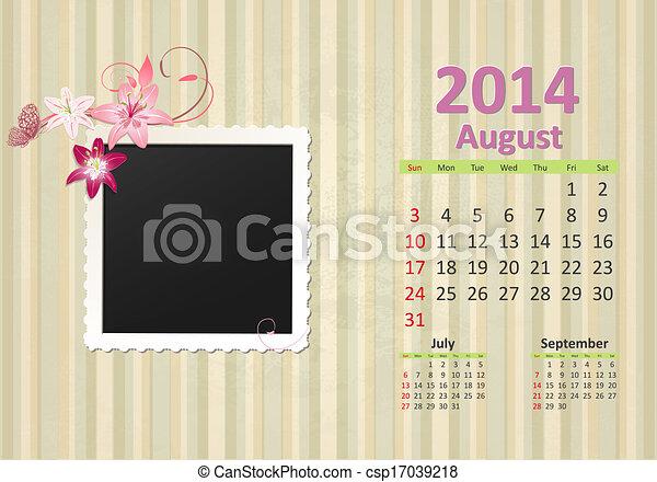 Calendar for 2014, august - csp17039218