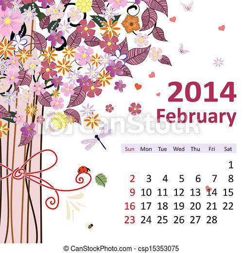 Calendar for 2014, february - csp15353075