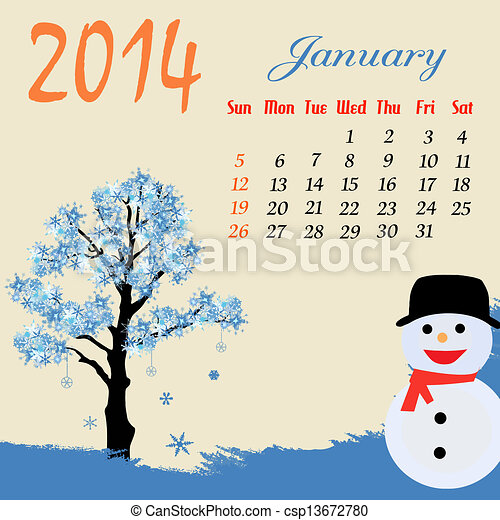 Calendar for 2014 January - csp13672780