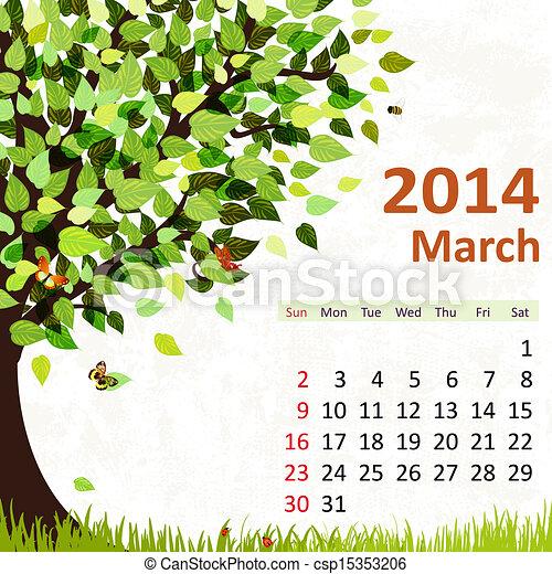 Calendar for 2014, march - csp15353206