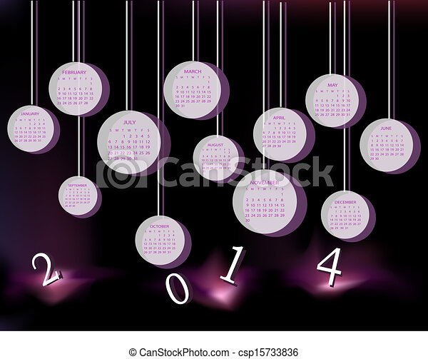Calendar for 2014 year with circles - csp15733836