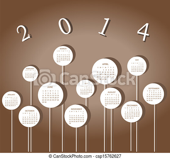 Calendar for 2014 year with circles - csp15762627