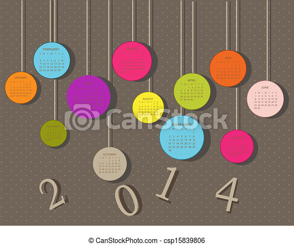 Calendar for 2014 year with circles - csp15839806