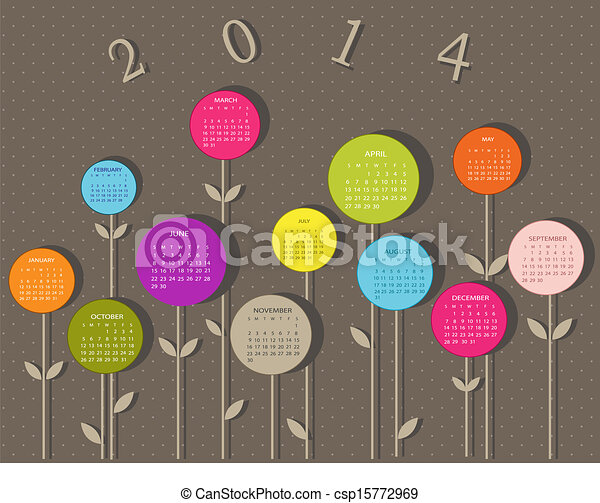 Calendar for 2014 year with flowers - csp15772969