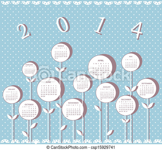 Calendar for 2014 year with flowers - csp15929741