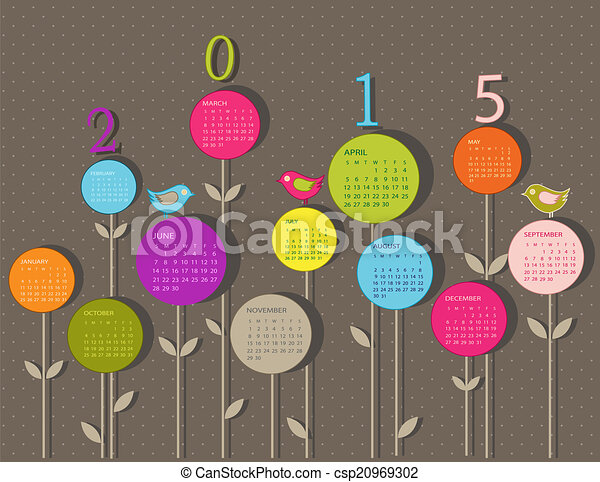 Calendar for 2015 year with flowers - csp20969302