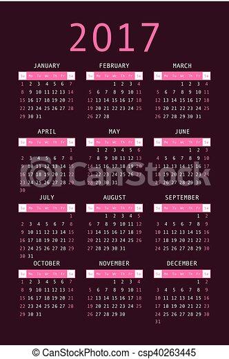 Calendar For 2017 On Black Background Vertical 2017 Pocket Calendar