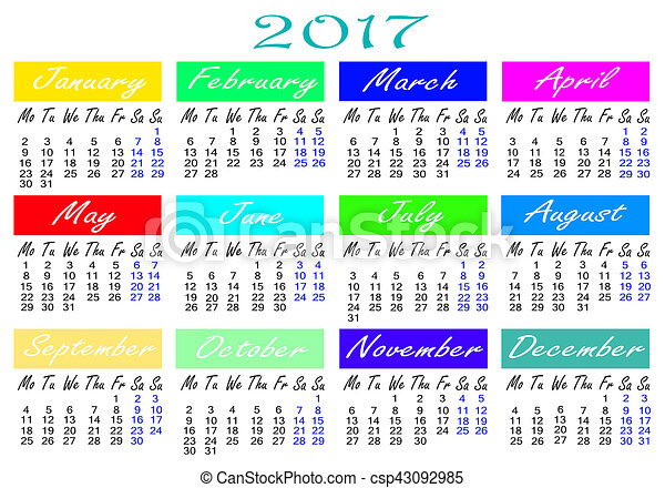 calendar for 2017 year illustration - csp43092985