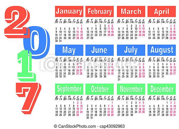 calendar for 2017 year illustration - csp43092963