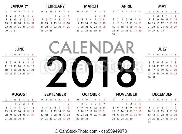 calendar for 2018 a3 template design week starts monday vector