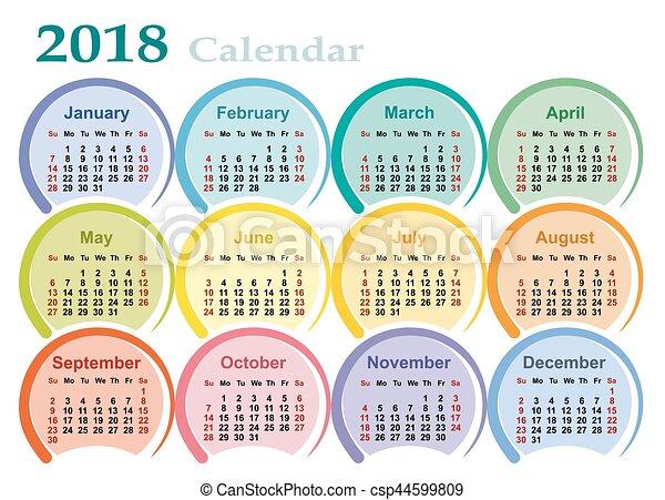 Calendar For 2018 A Calendar Template For A Year 2018