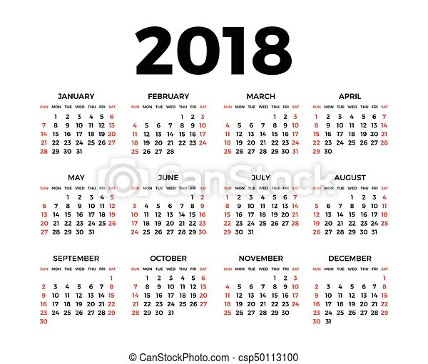 Calendar for 2018 on white background for Clipart calendario