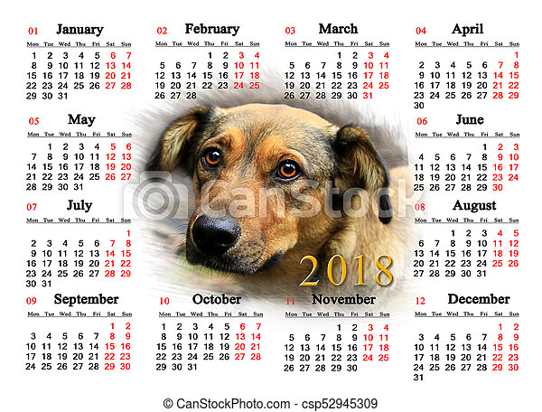 Calendar For 2018 With Image Of Nice Dog Calendar For 2018 With The